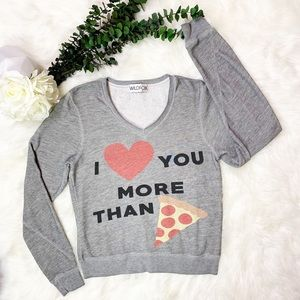 Wildfox More Than Pizza V-Neck Pullover Sweatshirt